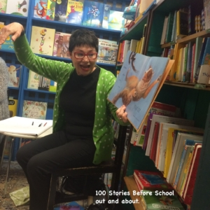 Janeen Brian reading Mrs Dog, 100 Stories out and about.